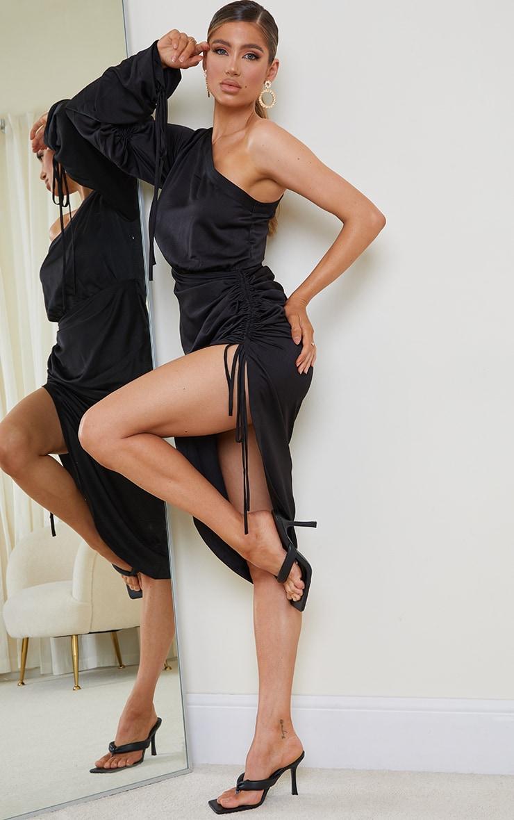 Black Ruched Sleeve One Shoulder Midi Dress
