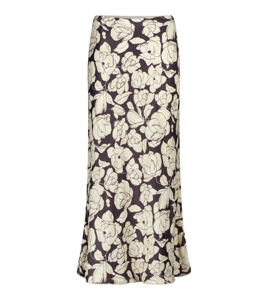Razi floral high-rise satin midi skirt