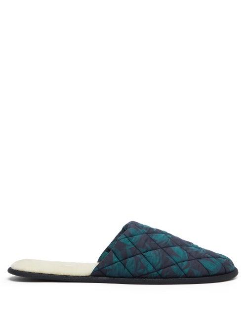 Desmond & Dempsey - Byron Leaf-print Cotton Slippers - Mens - Green Multi