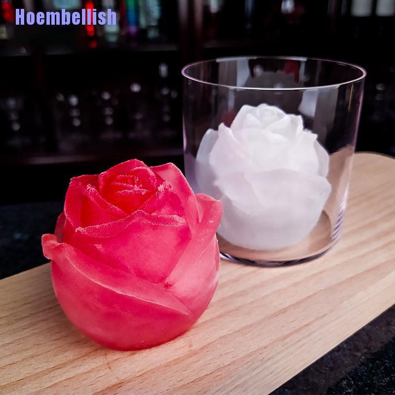 HL 2Pcs冰塊托盤3D玫瑰矽膠模具Diy製冰機酷酒冰淇淋模具