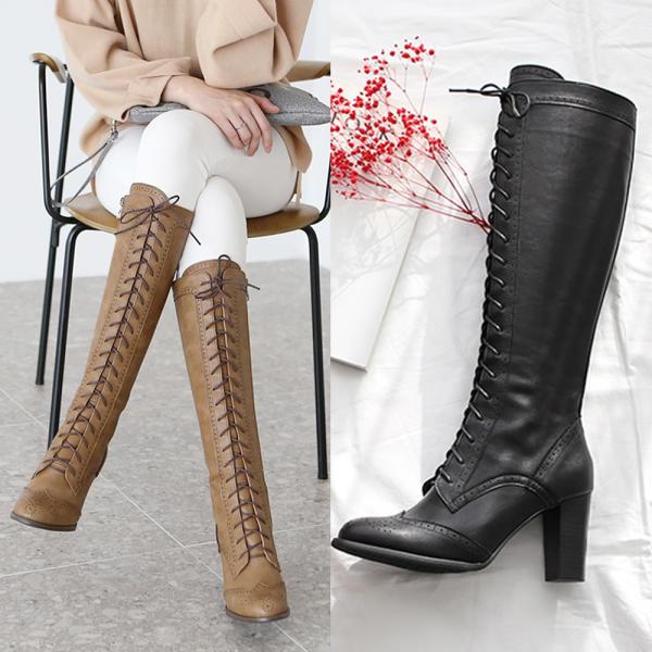 [lace up] 女性長軍靴修身中跟鞋 黑色