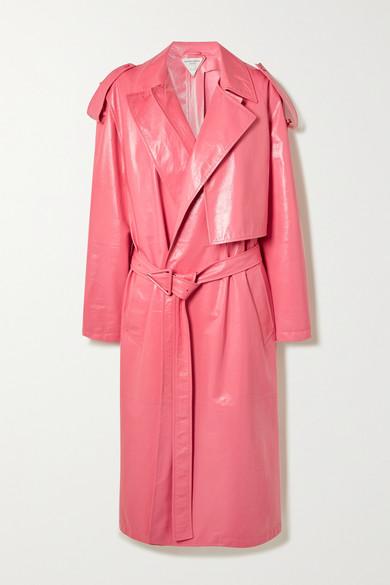 Bottega Veneta - 多种穿法褶皱亮片皮革风衣 - 粉红色 - IT38