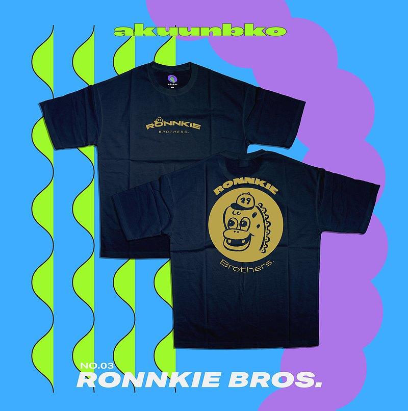 落肩五分袖T恤ーRonnkie Bros.ー丈青ーA君B子設計