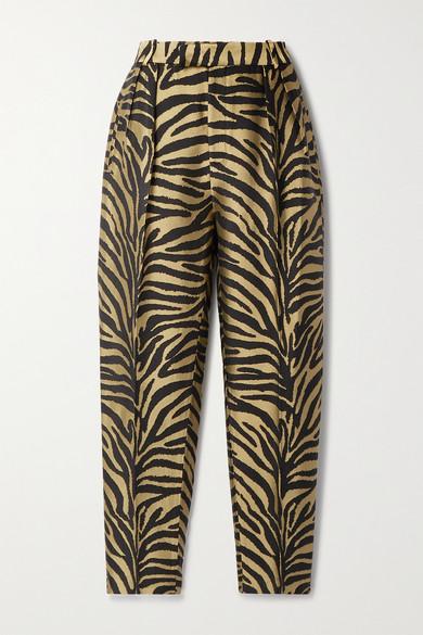 Khaite - Magdeline 褶裥金属感斑马纹提花直筒裤 - 金色 - US0