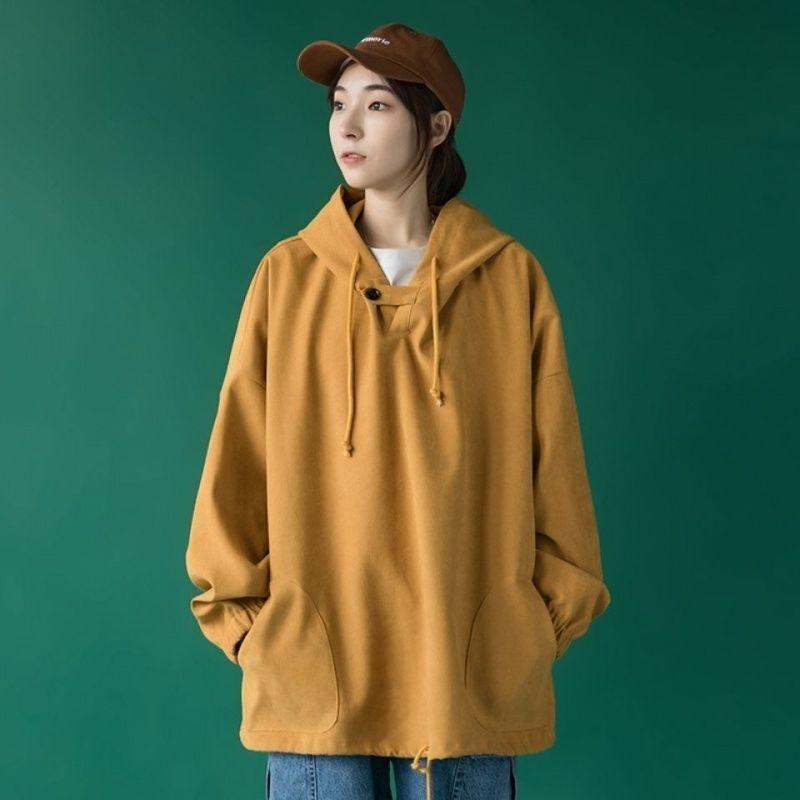 女裝素T胖MM300斤150公斤男友風慵懶風長袖帽T連帽寬鬆200斤素色上衣長版帽T大學T加大尺碼女裝