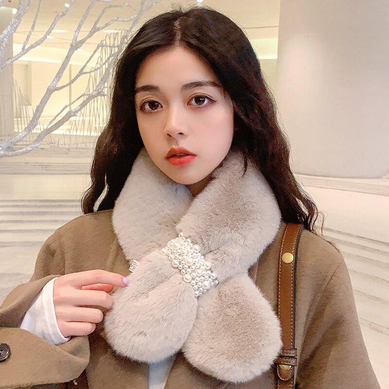 圍巾女款 圍巾女秋冬季學生珍珠仿獺兔毛韓版可愛少女加厚保暖毛刷毛圍脖套『J9291』