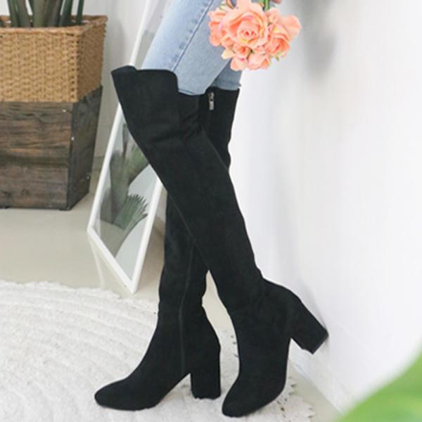 [sUEDE] 彈力 女士長款靴子 SYHI NIHI 修身版型 中跟 黑色PU