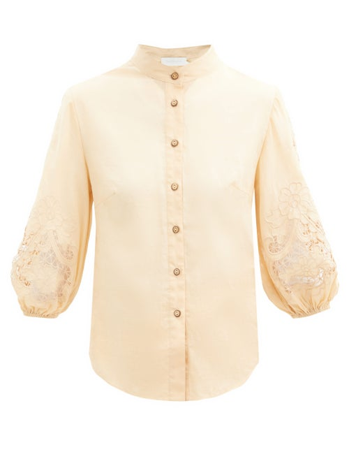 Zimmermann - Brighton Broderie-anglaise Cotton-voile Blouse - Womens - Beige