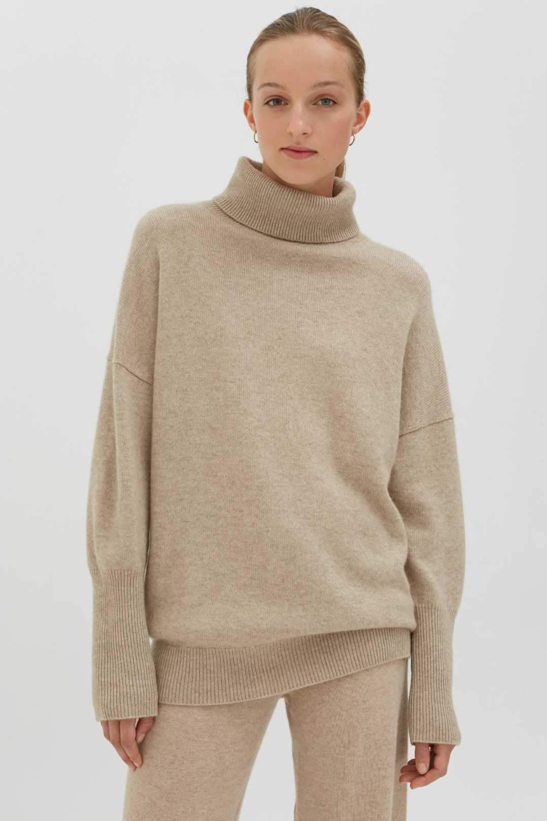 Oatmeal Cashmere Rollneck Sweater