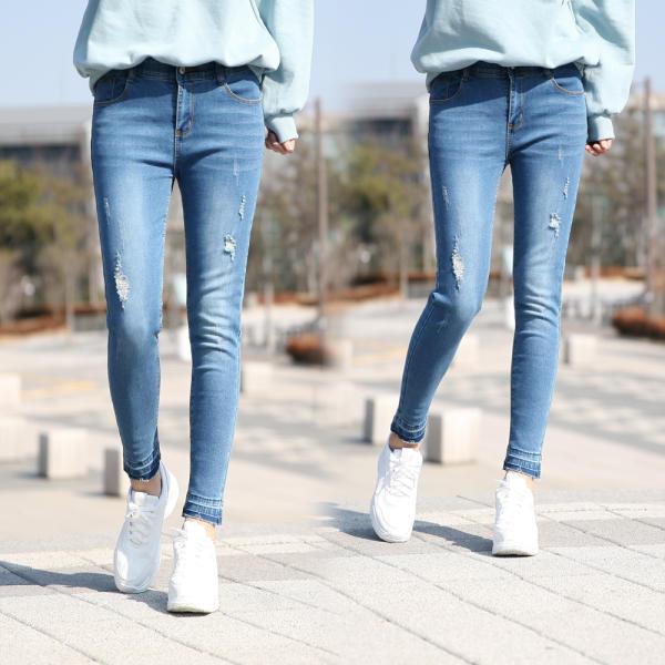 緊身款 彈力 女士牛仔褲 破洞懷舊 緊腿款 裁剪牛仔褲 LP620-1