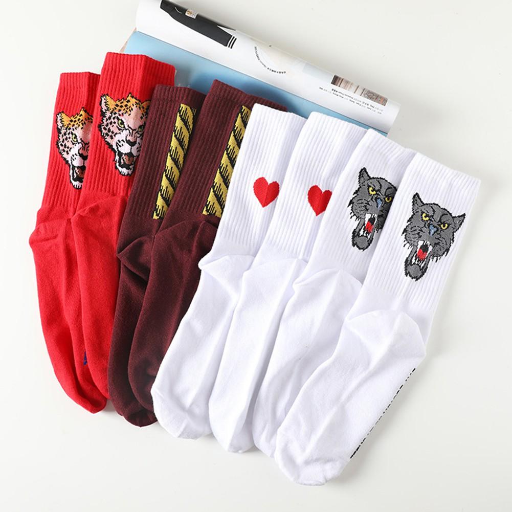 時尚女性時髦青年學生的長襪男士街頭運動滑板動物圖案 Ins 酷襪子