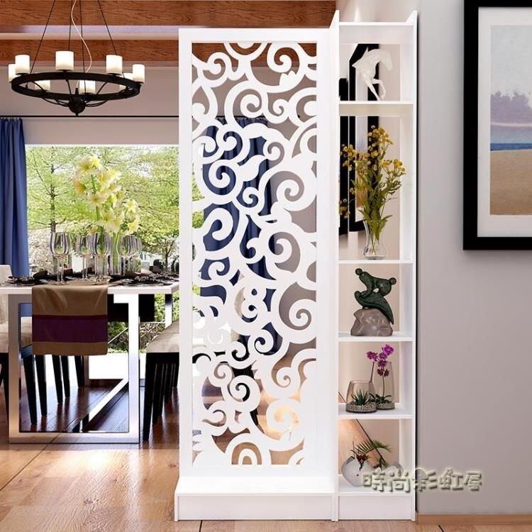 屏風櫃 歐式隔斷雕花玄關櫃鏤空簡約現代隔斷櫃客廳白色折屏雙面門廳