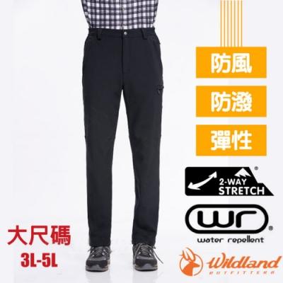 荒野 WildLand 男新款 SOFTSHELL直筒保暖褲(3L-5L大尺碼)_黑