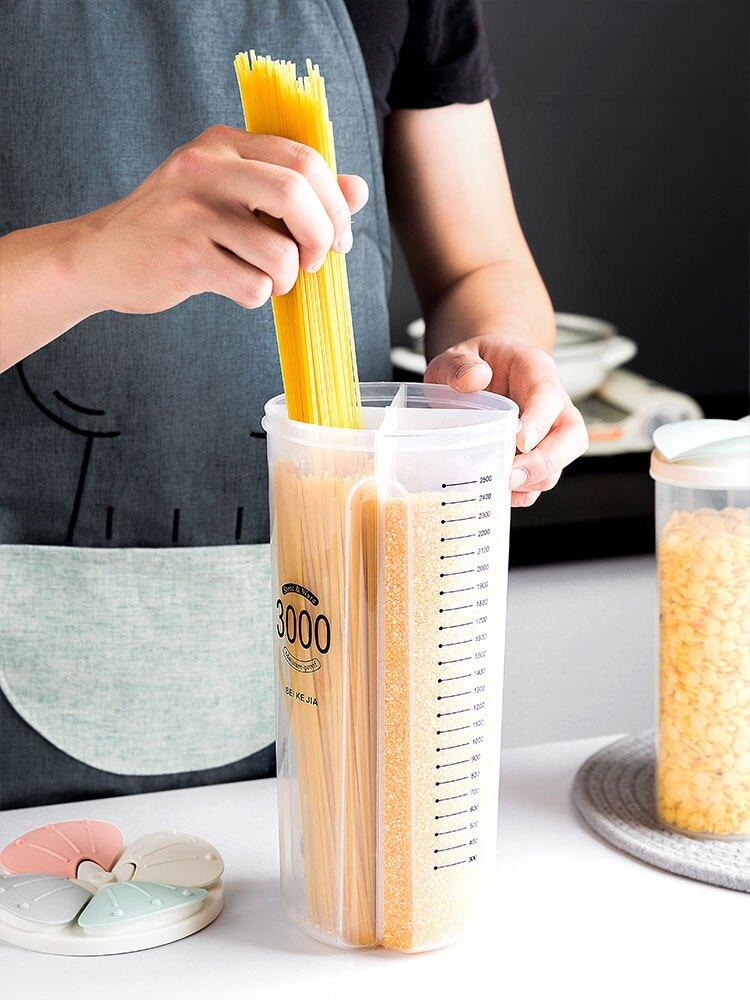 五谷雜糧密封罐塑料分格收納罐廚房家用裝食品豆子豆類儲物收納盒