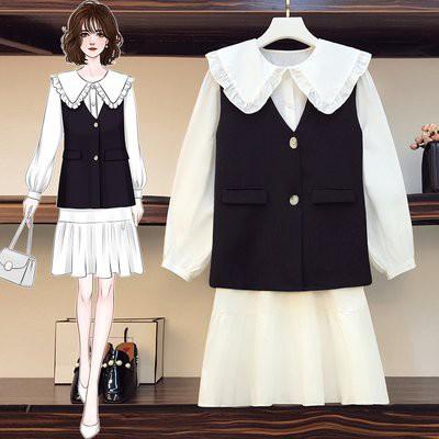 兩件套 上衣 背心 內搭裙 中大尺碼 L-4XL秋裝套裝復古chic小香風氣質洋氣減齡4F093-3790.胖胖美依