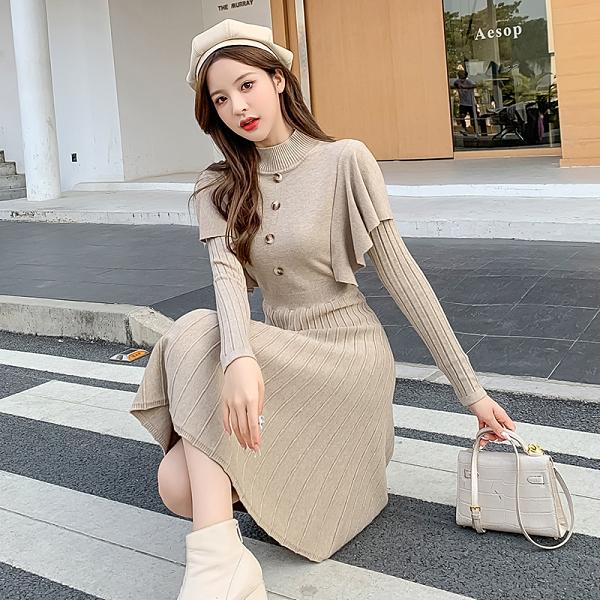 VK旗艦店 韓國風荷葉披肩假兩件針織修身長版長袖洋裝