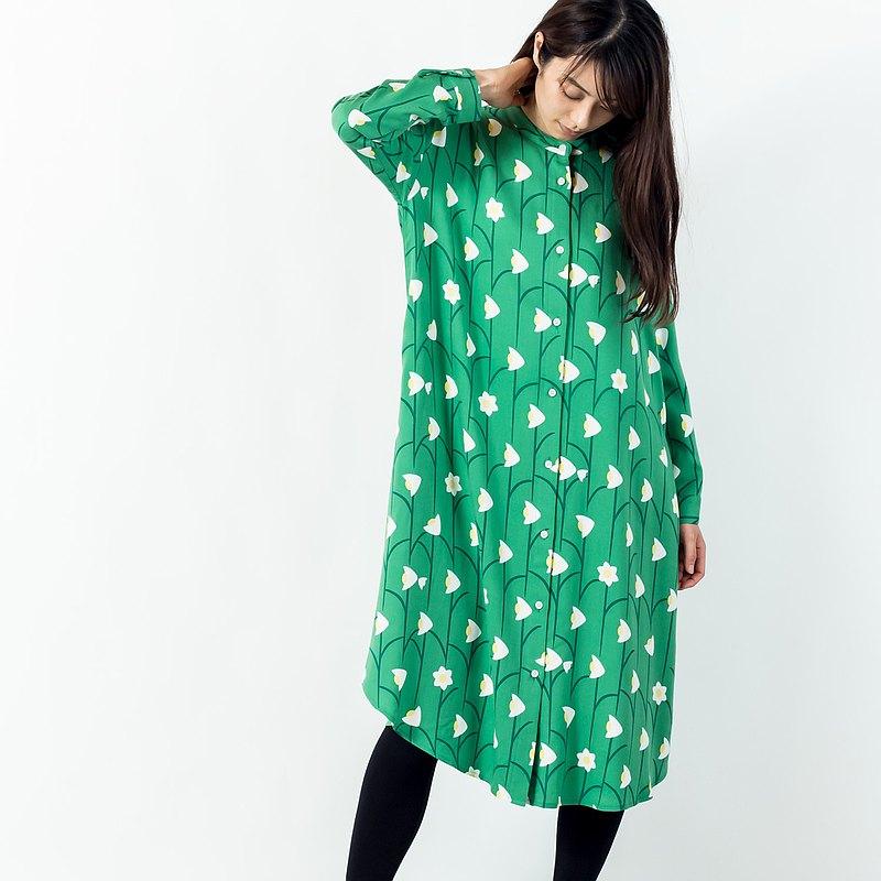 長袖襯衫一件式水仙連衣裙