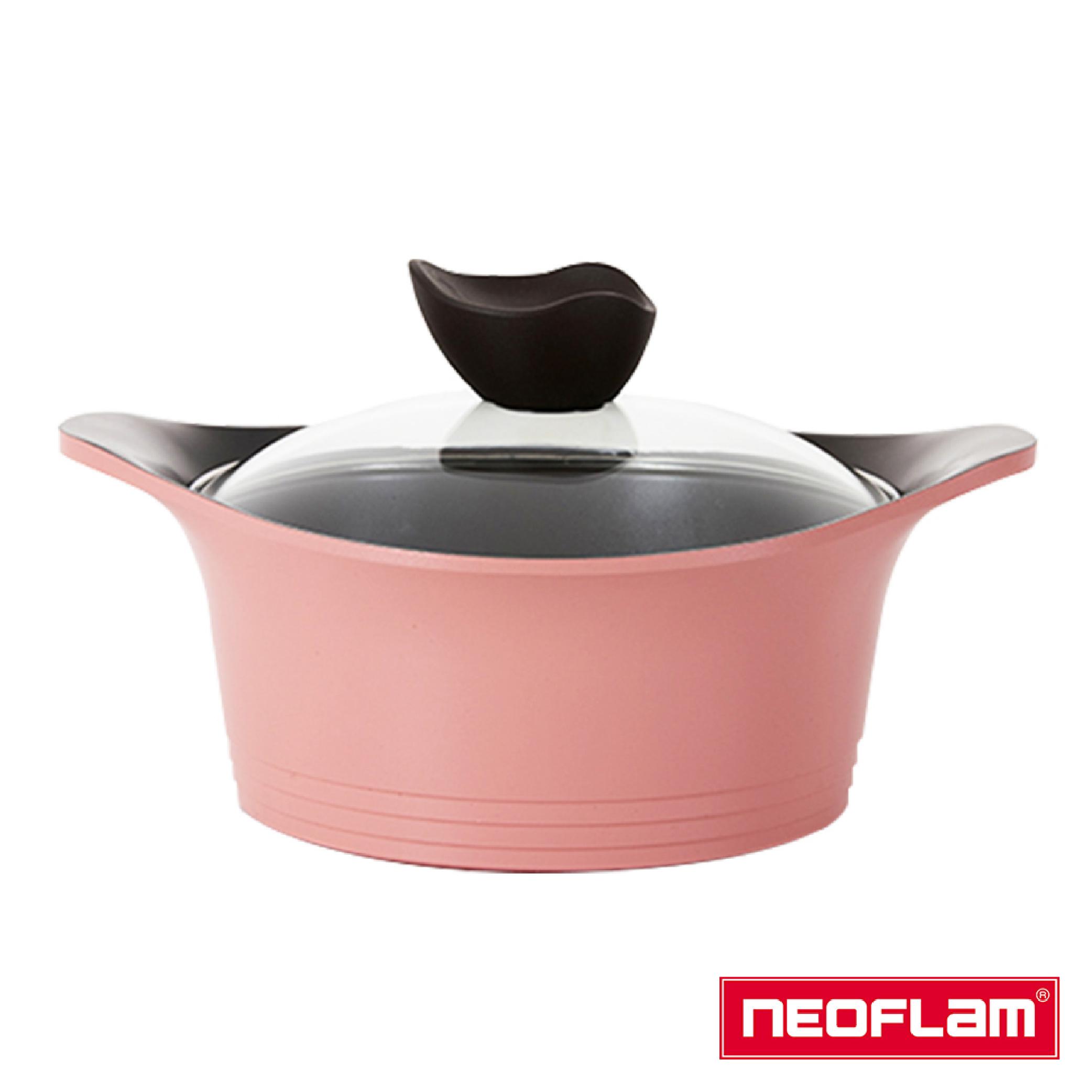 【NEOFLAM】Aeni系列22cm雙耳湯鍋-粉紅色(附玻璃蓋)
