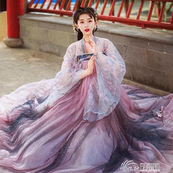 漢服系列 漢服女中國風仙氣飄逸古風學生齊腰彼岸花廣袖齊胸襦裙古裝 好樂匯