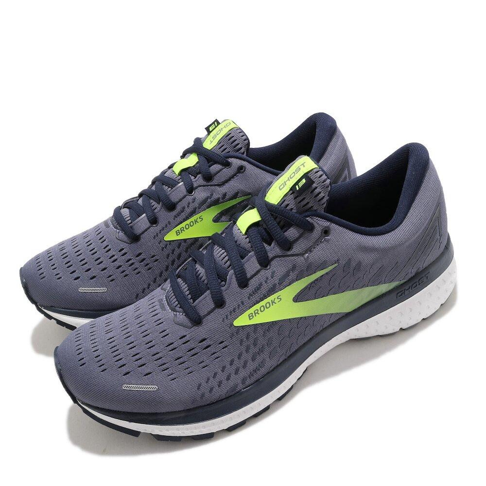 BROOKS 慢跑鞋 Ghost 13 運動 男鞋 路跑 緩震 DNA科技 透氣 健身 球鞋 灰 黃 [1103481D055]