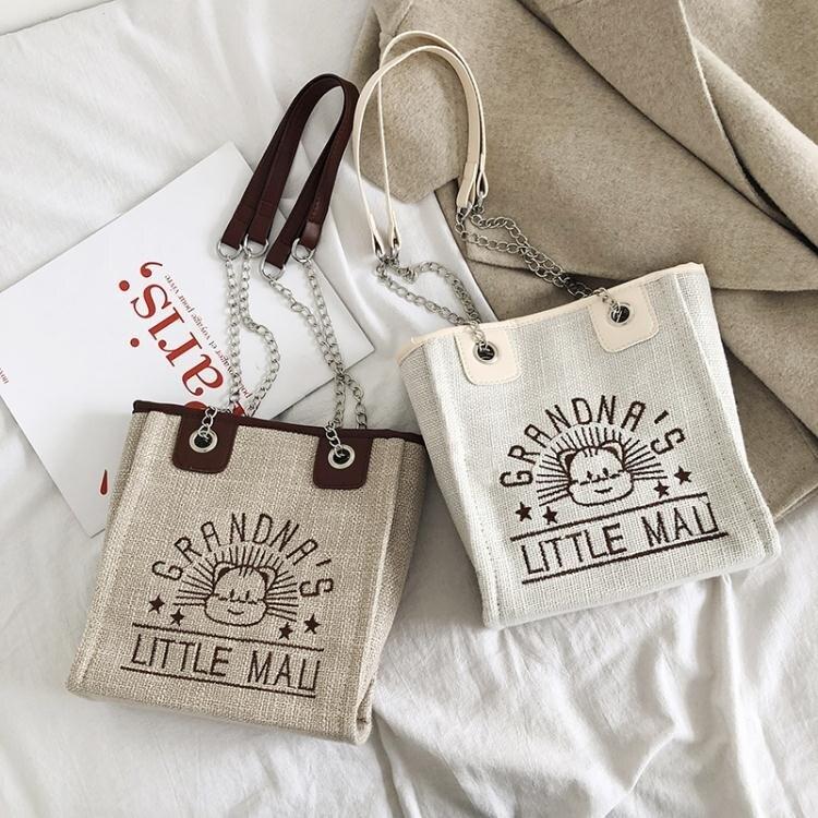 可愛小包包女新款潮韓版時尚休閒質感百搭帆布側背斜背托特包