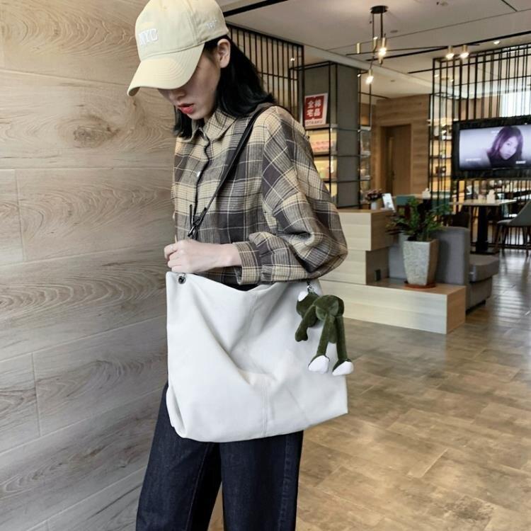 側背包 大包包女2020新款潮韓版時尚斜挎帆布包ins百搭大容量單肩托特包
