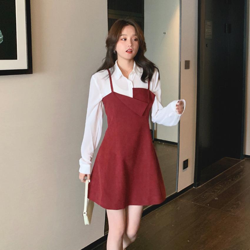 【免運】港風背帶裙2020秋冬新款時尚顯瘦顯高小可愛裙性感洋裝女氣質收腰裙子