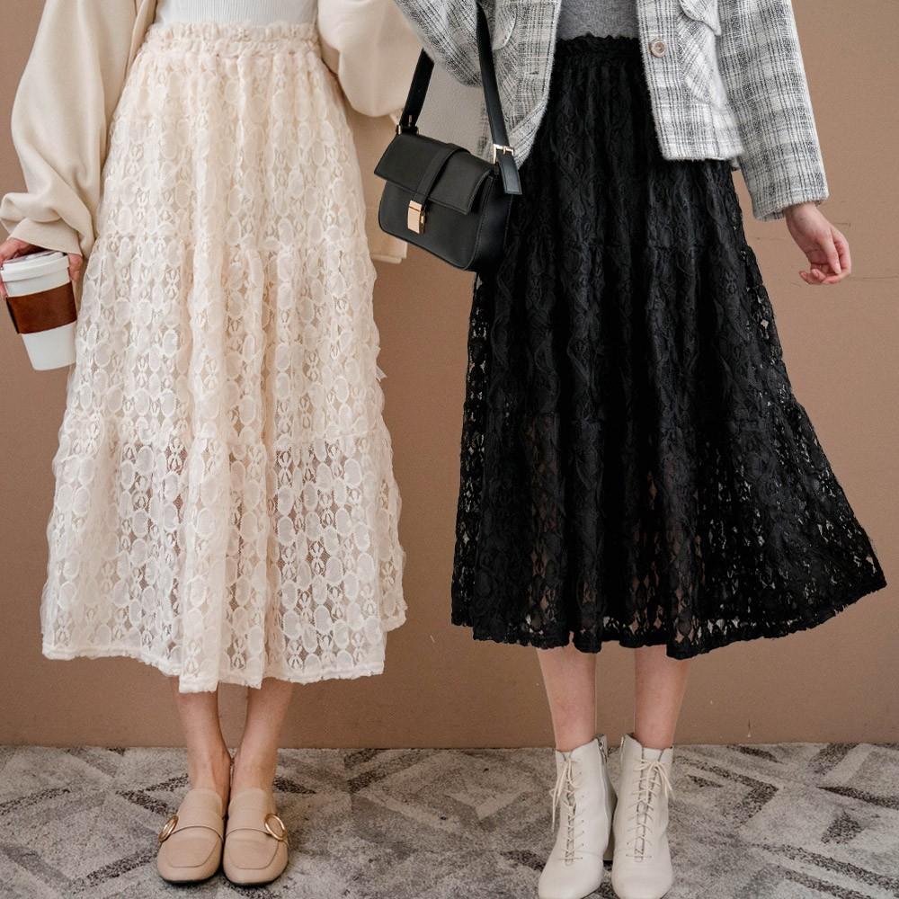 MIUSTAR 刺繡蕾絲雙層鬆緊長裙(共2色)長裙 1117 預購【NH2723】