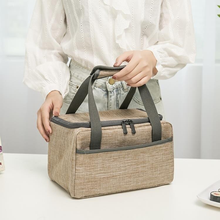 加厚裝飯盒袋子鋁箔保溫袋帆布帶飯菜的便當包保暖冷藏上班手提袋