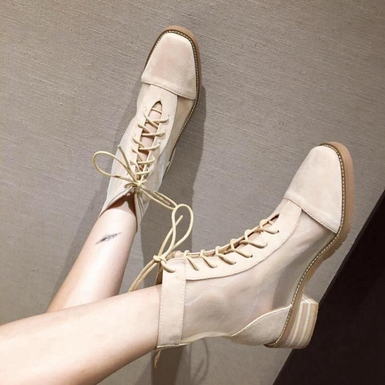 馬丁靴女短靴2020春夏季薄款百搭透氣瘦瘦靴英倫風網紗靴子女涼靴