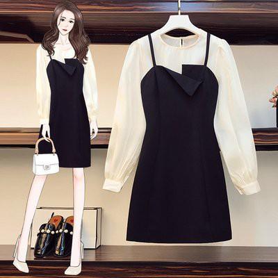 兩件套 上衣 連身裙 襯衫 中大尺碼 L-4XL秋裝新款女裝胖mm洋氣寬鬆長袖襯衣+百搭吊帶連衣裙套裝4F097A-10