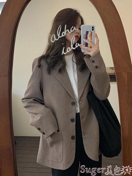 西裝外套 秋季新款女英倫風西服上衣韓版百搭簡約西裝長袖網紅小外套潮 suger