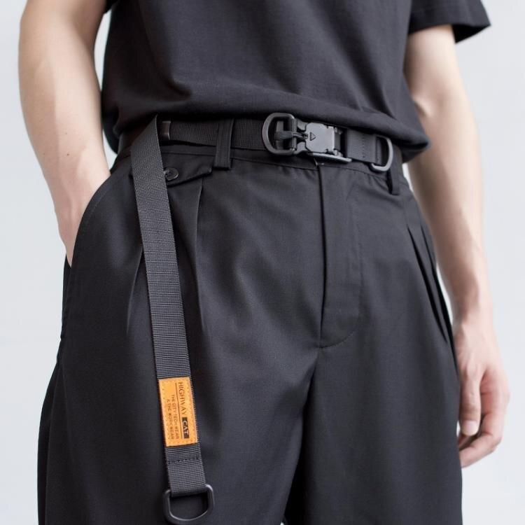 磁力扣機能腰帶男女 國潮潮牌戰術工裝ins暗黑工業風加長尼龍皮帶