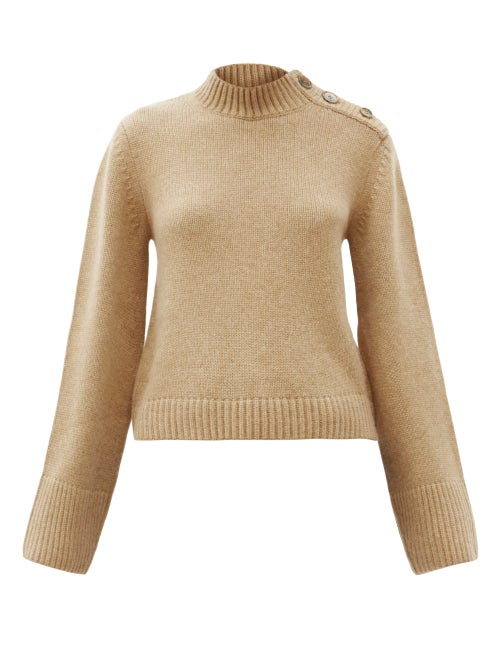 Khaite - Brie Flared-sleeve Buttoned Cashmere Sweater - Womens - Camel