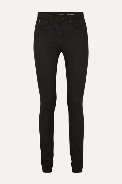 SAINT LAURENT - 高腰紧身牛仔裤 - 黑色 - 28