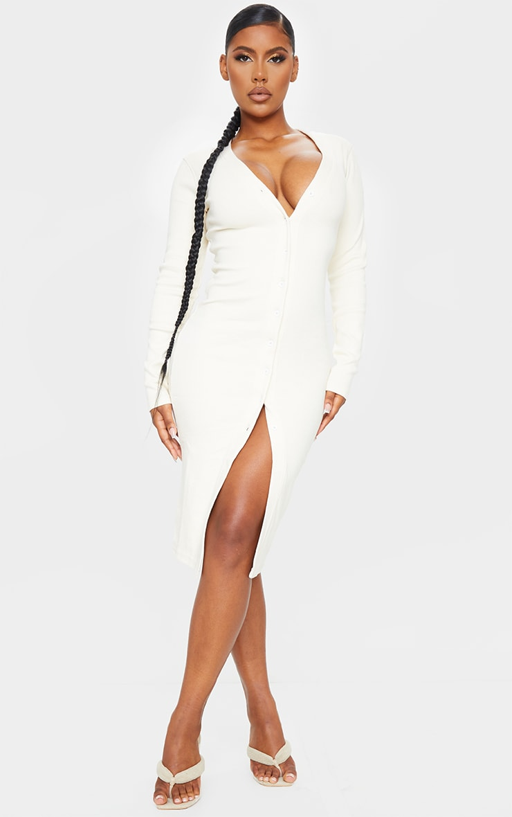 Cream Thick Rib Long Sleeve Button Through Midi Dress
