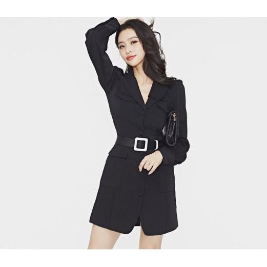 外套 開衫 S-XL韓版OL氣質腰帶收腰職業修身單排扣時尚西裝外套NE49.095胖胖美依