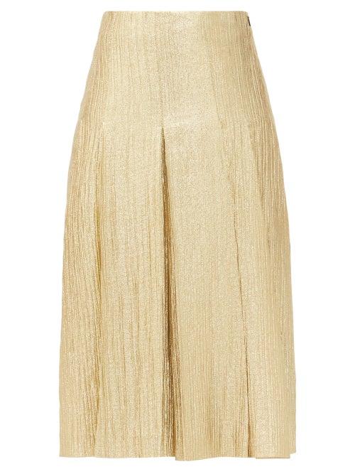 Fendi - Wool-blend Lamé Midi Skirt - Womens - Gold
