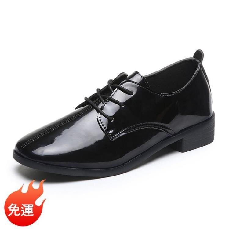 牛津鞋 ins英倫風小皮鞋女軟皮學生百搭ulzzang平底學院風復古系帶單鞋