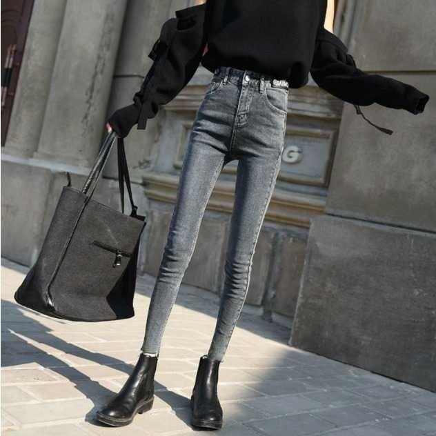 窄管褲 2020年秋裝新款灰藍色高腰網紅九分牛仔褲女小腳褲修身顯瘦鉛筆褲