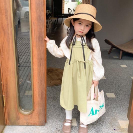 女童韓版純棉氣質長袖洋裝 小童洋裝 寶寶洋裝 女童連衣裙 女童洋裝 中小童洋裝【蘋果小舖】(MI)2009 A6