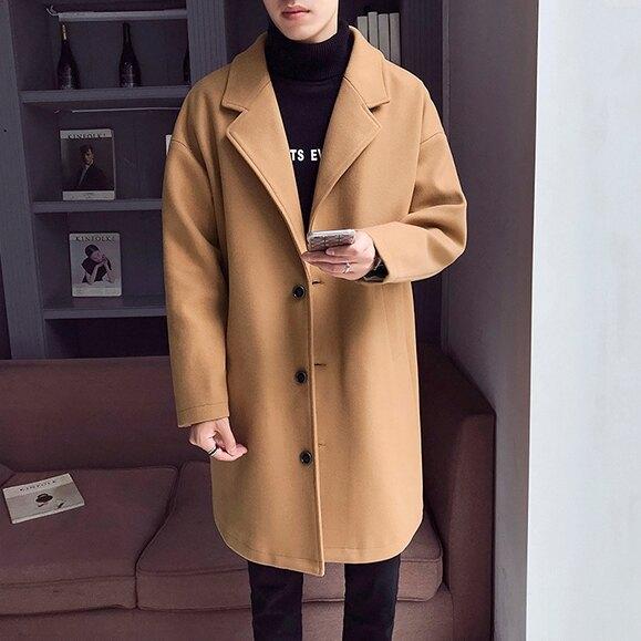 男士風衣 秋冬新款風衣男潮牌中長款加棉加厚正韓潮流寬鬆呢子外套