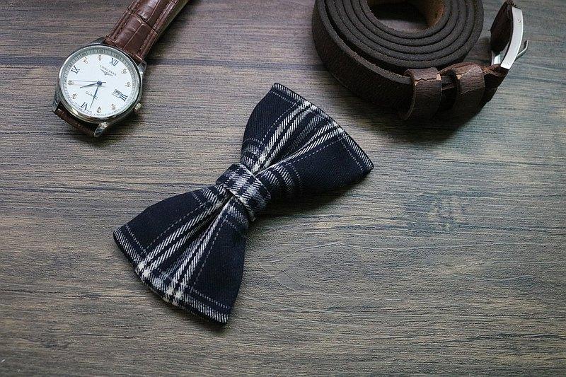 英伦范呢子格纹深蓝色领结/高质感经典蝴蝶结