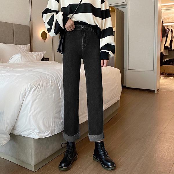 現貨特價# 直銷春夏新款韓版高腰百搭直筒寬松顯瘦闊腿牛仔褲女褲潮