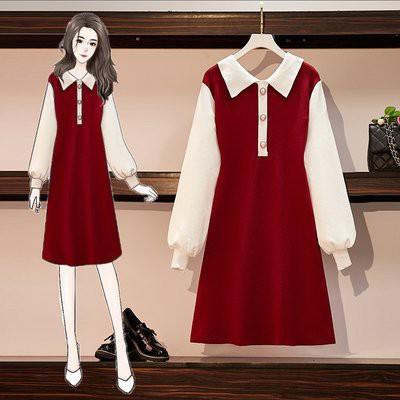 洋裝 針織 拼接裙 中大尺碼M-4XL 新款胖妹妹寬鬆顯瘦小清風內搭毛衣連身裙4F001-6678.胖胖美依