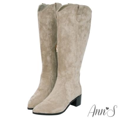 Ann'S寬版防水絨布-超修身V口顯瘦粗跟西部及膝長靴-杏