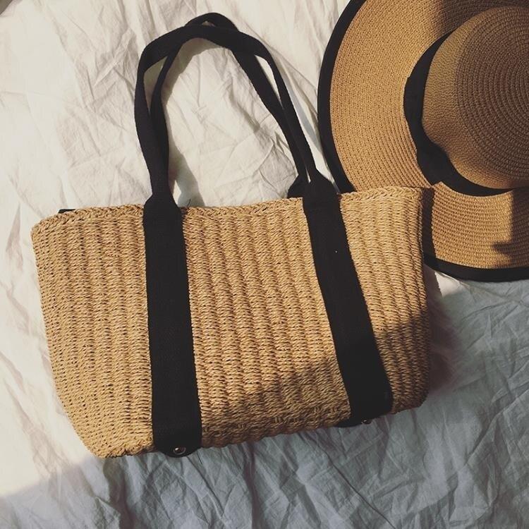 草編包 ins旅游度假海灘包包沙灘包編織包休閒手提包