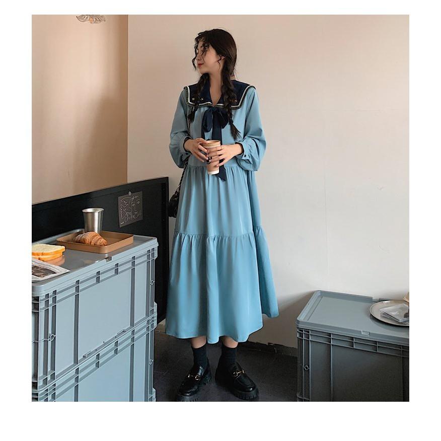 洋裝 長版裙 外穿 中大尺碼L-4XL新款長袖連身裙女雪紡超仙桔梗裙法式長裙及踝復古R10-9612.胖胖美依