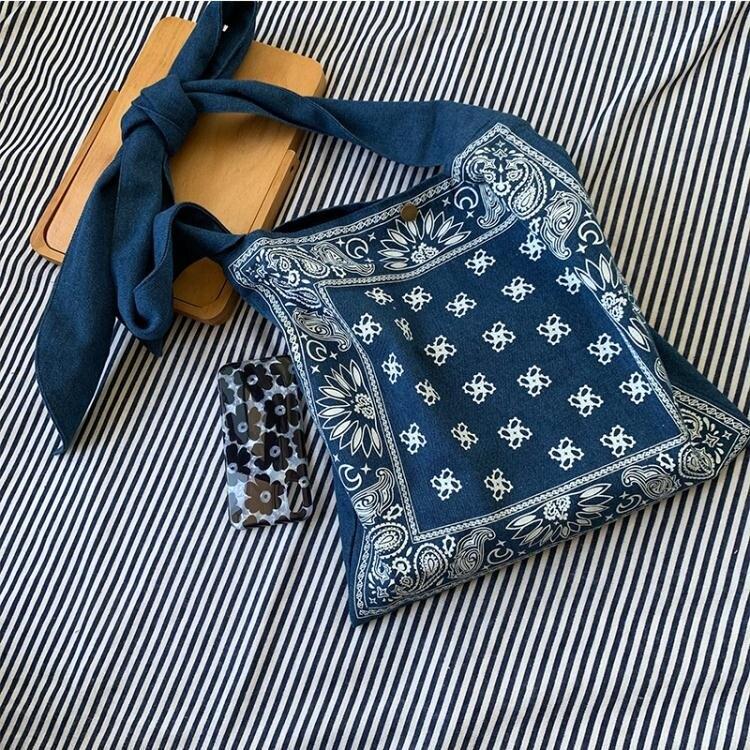 包包女新款百搭牛仔布袋包側背斜背肩帶可調節簡約文藝帆布包