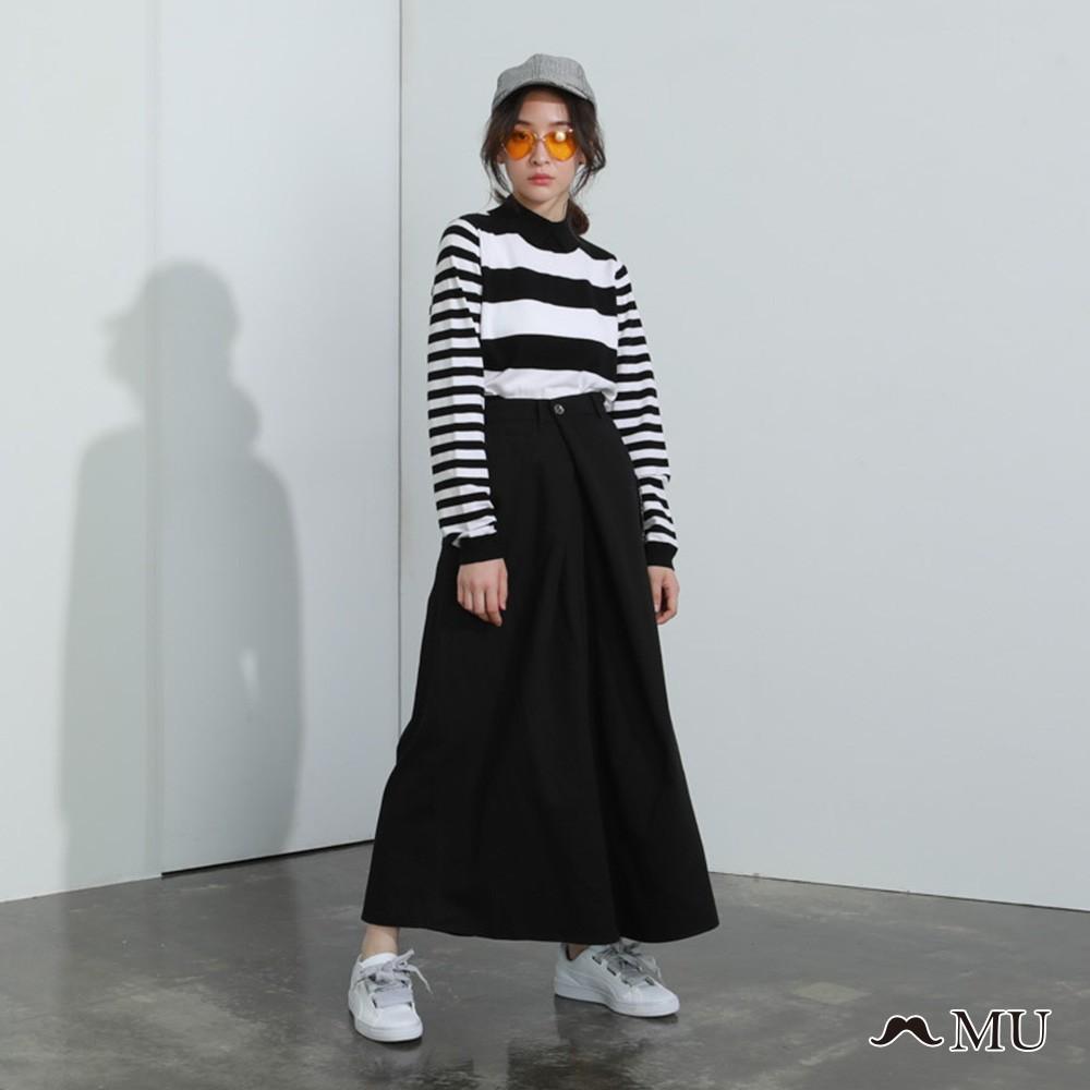 MU (89)單邊口袋交叉個性長褲裙(共二色)